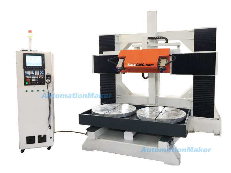 CNC Router 5 axis Milling Machine, 2 Tables Rotary